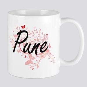 Pune India City Artistic design with butterfl Mugs